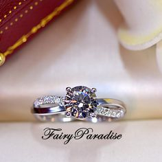1 Ct twisted infinity promise ring / engagement ring, man made diamond, 925 sterling silver, Free ring box (Fairy Paradise)