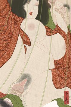 """Okame"" Shunga print by Matti Senju Sandberg"