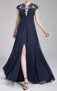 Dark Navy A Line Princess Scoop Neck Floor Length Chiffon Evening Dress Ruffle Beading Sequins Split Front Harry Dress HD19448