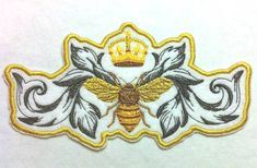 Stunning Napoleonic Bee and Crown Iron on Embroidered Patch Applique - x Pin And Patches, Iron On Patches, Iron On Embroidered Patches, Bee Tattoo, Bee Jewelry, Save The Bees, Bee Happy, Bees Knees, Pretty Patterns