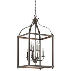 Larkin Olde Bronze Six Light Cage Foyer Pendant Kichler Lantern Pendant Lighting Ceiling L