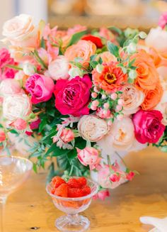 Colorful Garden Inspired Bridal Shower at Casita Hollywood : Revelry Event Designers Bridal Shower Tables, Wedding Shower Decorations, Bridal Shower Flowers, Bridal Shower Colors, Wedding Decor, Garden Bridal Showers, Summer Bridal Showers, Orange Wedding Flowers, Floral Wedding