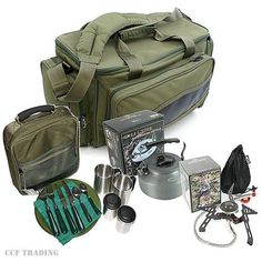 Gas-Stove-Kettle-Deluxe-Cutlery-Mug-Set-Insulated-Carryall-Carp-Fishing-NGT