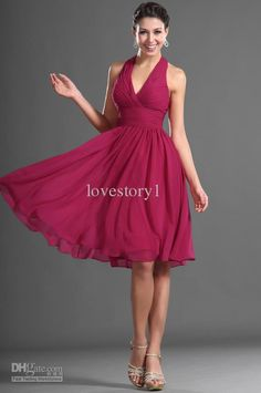 Cheap 2014 Popular Halter Raspberry Knee Length A-Line Cocktail Dresses Party Bridesmaid Dress CD033 Online with $60.64/Piece on Lovestory1's Store | DHgate.com