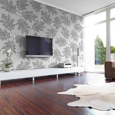 Czarno-biała tapeta z liśćmi