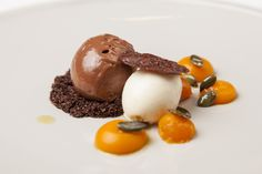 CHOCOLATE MOUSSE WITH CREME FRAICHE SORBET AND SOUS VIDE VANILLA SQUASH - If you're a fan of chocolate we think that you will love this sensational recipe from Great British Chef Nigel Mendham. The sous vide vanilla squash compliments the chocolate perfectly.