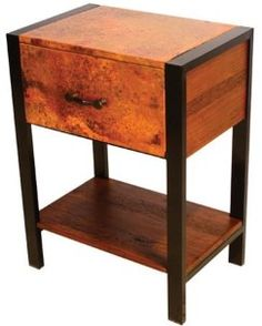 This contemporary rustic copper end table, side table or nightstand is made with reclaimed copper & wood for modern & refined mountain decors in custom sizes.