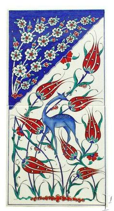 Iznik tile panel An important cultural center during the reign of Suleyman the Magnificent, the rural town of Iznik Turkish Tiles, Turkish Art, Islamic Tiles, Islamic Art, Tile Art, Mosaic Art, Turkish Pattern, Tile Patterns, Surface Design