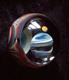 contemporary art glass marble planet with opal by crisantiglass, $49.99