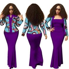 African Dashiki 2Piece Long Dress with Crop Top Suits Set for Women