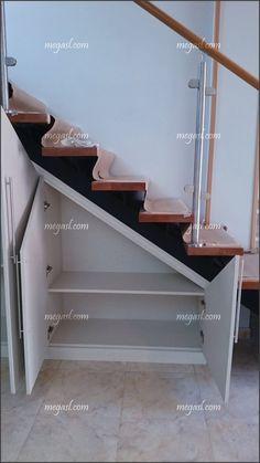 90 Cool Ideas to Make or Remodel Storage Under Stairs Space Under Stairs, Under Stairs Cupboard, Staircase Storage, Stair Storage, Flur Design, Hallway Designs, Cupboard Design, House Stairs, Basement Remodeling