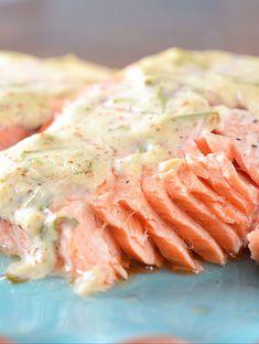 Baked salmon with a tangy tarragon dijon sauce. Baked Salmon Recipes, Fish Recipes, Seafood Recipes, Cooking Recipes, Healthy Recipes, Asian Recipes, Recipies, Tarragon Sauce Recipes, Sauce For Salmon