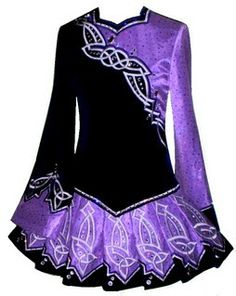 Irish Dance Dress: very fun asymmetrical. Would love something like this for teams, with a simple black skirt instead of the purple.