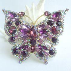 Golden Tone, Bouquet Brooch, Gorgeous Purple Rhinestone Crystal Butterfly Brooch Pin BP04919C5a