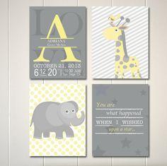 Children wall art, yellow grey nursery art, elephant nursery, giraffe,  by PicabooArtStudio, $22.00