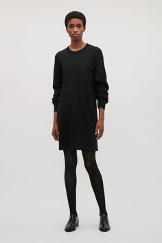 COS image 1 of Dress with folded sleeve drape  in Black