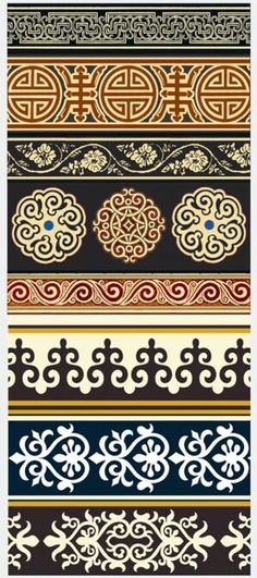Mongolian Patterns - vaguely reminiscent of Pugin Pattern Texture, Border Pattern, Border Design, Pattern Art, Pattern Design, Motif Design, Textures Patterns, Print Patterns, Motif Arabesque
