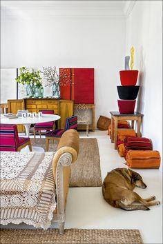 El ANTI decorador - AD España, © Ricardo Labougle Kaki, la perra de Luis Galliussi, en la casa de su dueño en Madrid (y la suya).