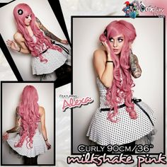 Rockstar Cosplay Bohemian Pink Costume Wig Women/'s Frizzy Crimp Curls Stylable