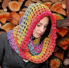 Peace Rainbow Rasta Love Cowl Hood Vegan scarf Grey by BessetteArt, $39.00