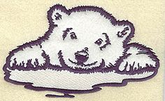 Polar bear cub on ice applique | Applique Machine Embroidery Design or Pattern