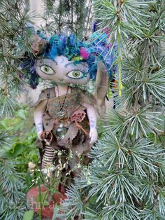 Woods Fairy Doll OOAK Free Shipping ...She sews by hand using pine needles and spider silk thread. She trades a special juice she makes that spider babies love with the mama spiders. The silk gets it's lovely blue shade with juniper berries... $225.00 +free shipping!