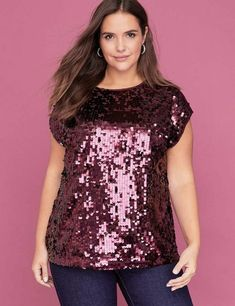 Lane Bryant Sequin Tee/Top on Mercari Ladies Shirts Formal, Formal Tops For Women, Dress Shirts For Women, Ladies Tops, Plus Size Formal, Plus Size Tops, Sequin Tank Tops, Sequin Top, Plus Size Fashion For Women