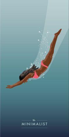 Black Girl Art, Art Girl, Women's Diving, Swimming Diving, Foto Pop Art, Yoga Illustration, Illustration Styles, Surf Art, Aesthetic Art