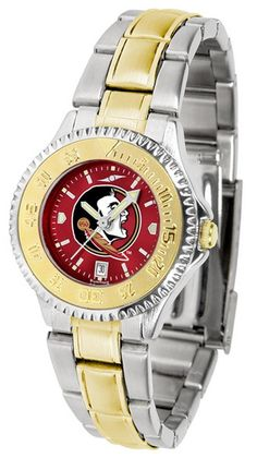 FSU Florida State University Ladies Stainless Steel and Gold Tone Watch