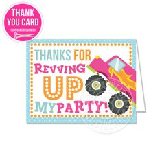 Girly Monster Truck Thank You Card - JW Illustrations