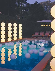 SolarGlo! Pool Party idea. We have these at our retail location in Baytown. They are a big hit with pool owners! www.cryetpools.com