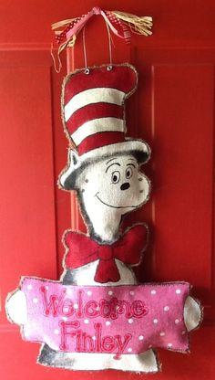 Cat in the Hat pink burlap door hanger NataliesFabArt Etsy