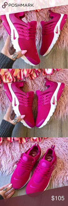 NWT Nike Air Presto fuchsia  Brand new with box (no lid)! Price is firm!A popular running design gets some modern updates on the stylish Women's Nike Air Presto Running Shoes. Boasting a sock like fit, these stretch mesh constructed sneakers hug your