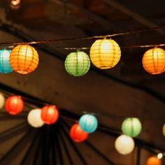 Lumabase 3 in. Electric String Paper Lanterns - Set of 10 - Outdoor Hanging Lights at Hayneedle Lantern String Lights, Lantern Set, Christmas String Lights, String Lights Outdoor, Outdoor Lighting, Hanging Lights, Lighting Ideas, Hanging Lanterns, Aspen