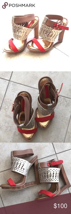 Brand New BCBG Maxazria Sandals Beautiful faux snakeskin and red leather sandals! Perfect for summer nights and vacay! BCBGMaxAzria Shoes Sandals