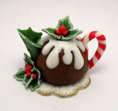 1/12TH scale  Christmas pudding teapot  BY LORY by 64tnt on Etsy