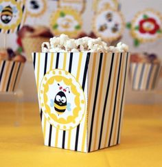 Bee themed birthday party via Kara's Party Ideas KarasPartyIdeas.com Cakes, Cupcakes, recipes, decor, favors, and more! #beeparty #honeybees #beeparty