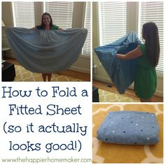 how to fold a fitted sheet so it actually looks good- this makes a HUGE difference in closet organization!! Folding Fitted Sheets, Cleaning Hacks, Diy Cleaning Products, House Cleaning Tips, Cleaning Supplies, Spring Cleaning, Closet Organization, Laundry Hacks, Homemaking