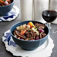 Short Ribs with Mushrooms and Carrots | To layer the flavors in this dish, chef Rory Herrmann at Bouchon in Beverly Hills marinates beef short ribs and vegetables in red wine overnight, then uses the marinade in the braise as well.