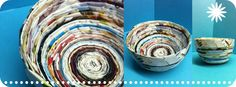 Bowl made from recycled wedding magazine