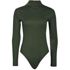 Boohoo Lola Turtle Neck Rib Long Sleeve Bodysuit | Boohoo ($20) ❤ liked on Polyvore featuring tops, long sleeve bodysuit, turtle neck crop top, green body suit, turtleneck crop tops and long-sleeve bodysuits