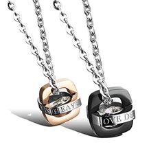 """Stainless Steel /""""Love Which Connect Two Persons/"""" Double Rings Pendant Necklace"""
