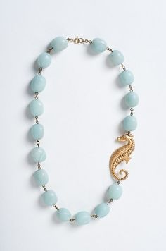 Seafoam Blue Seahorse Critter Necklace by Manic Trout