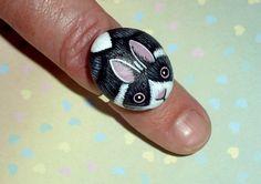 Dutch bunny, rabbit jewelry bunny ring, mom gift, jewellery bunny ring, spring bunny ring, rabbit ring, gift for her, woodland wildlife,ooak
