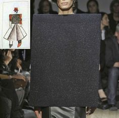 """Kazimir Malevich, Sketch of a costume for the opera """"Victory Over The Sun"""" by Matyushin, 1913  and Maison Martin Margiela S/S 2011"""