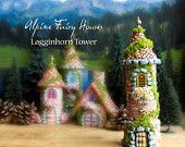 Alpine Fairy House - Lagginhorn Tower - Miniature Handcrafted Fae Tower with Terracotta Roof, Blooming Flower Box, Stone Entry Arch and Moss