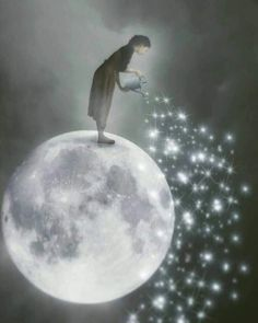 Illustration Moon A shower of Stars to illuminate the night of those who are alone ! Surrealism Photography, Fantasy, Moon Art, Moon Pictures, Fantasy Art, Whimsical Art, Surrealism, Art, Beautiful Art