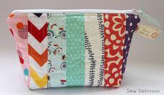 Scrappy Fabric Strip Zipper Pouch - Tutorial