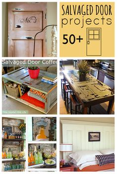 "Check out the door table pic under ""Salvaged Door Projects Over projects to make from Repurposed Doors Old Door Projects, Furniture Projects, Furniture Makeover, Home Projects, Diy Furniture, Pallet Projects, Salvaged Doors, Old Doors, Repurposed Wood"