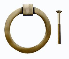 2 1/2 Inch Mission Style Solid Brass Ring Pull (Antique Brass Finish)